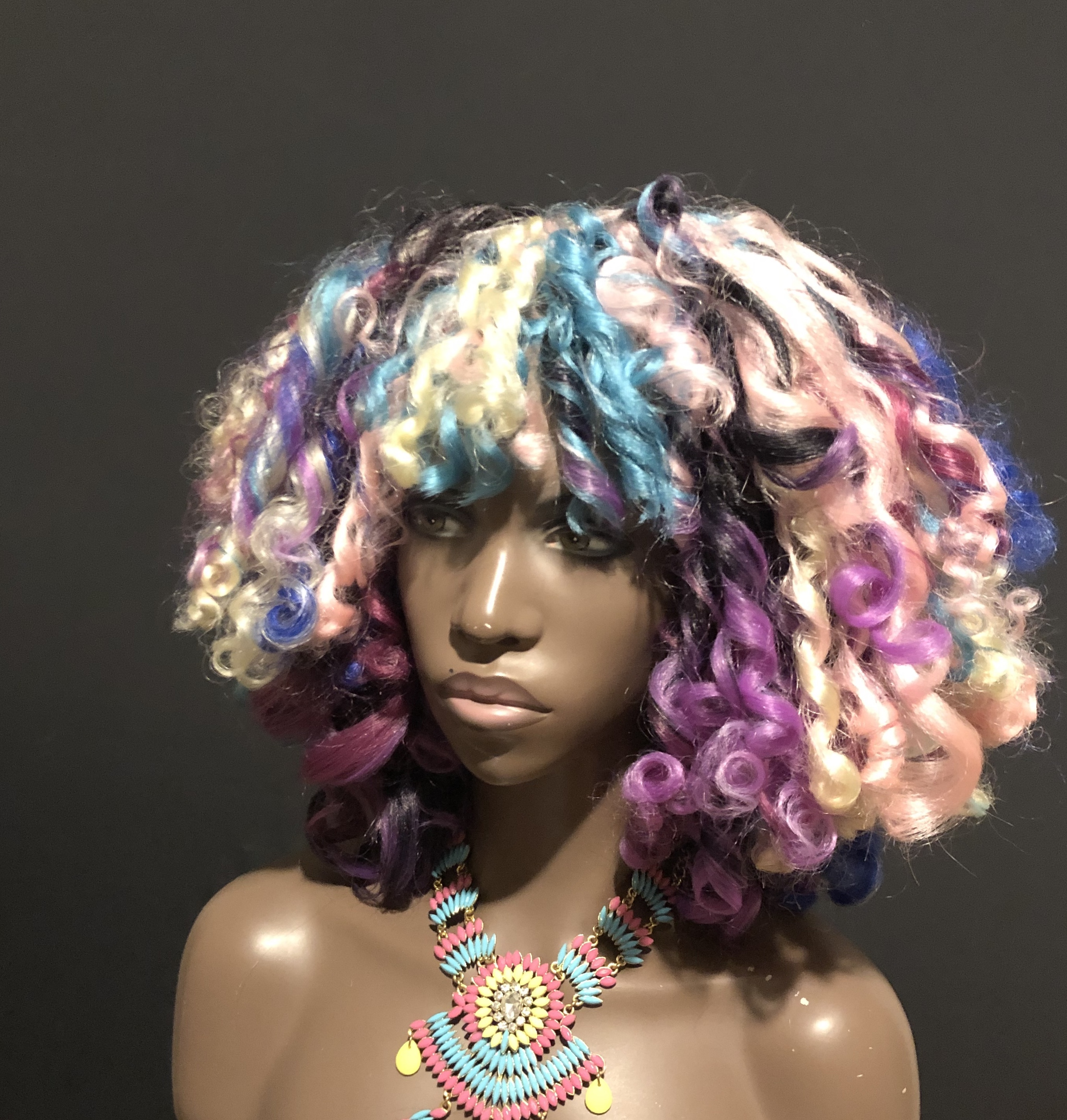 Unicorn Neon Curls Wig Unit Kinky Curly Natural Hair Texture by Essence Wigs