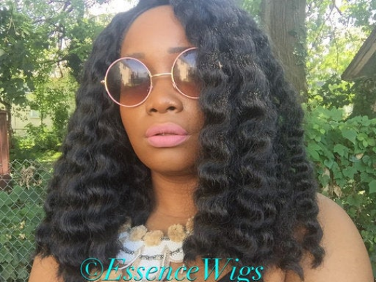 Essence Wigs African Water Wave Blunt Bob Precision Cut Lace front Wig Unit Black Brown Lace Wig Curly Hair