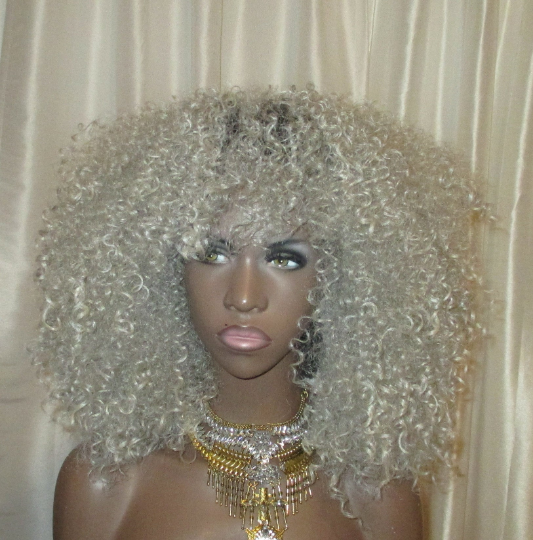 Light Gray Kinky Curly 'Storm' Wig Lace & Non Lace Wig by Essence Wigs