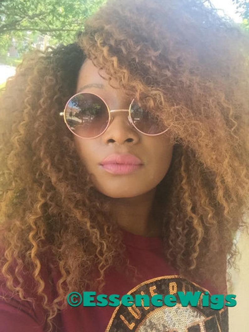 Essence Wigs Kinky Straw Curl Curly Natural Hair Wig Honey Blonde