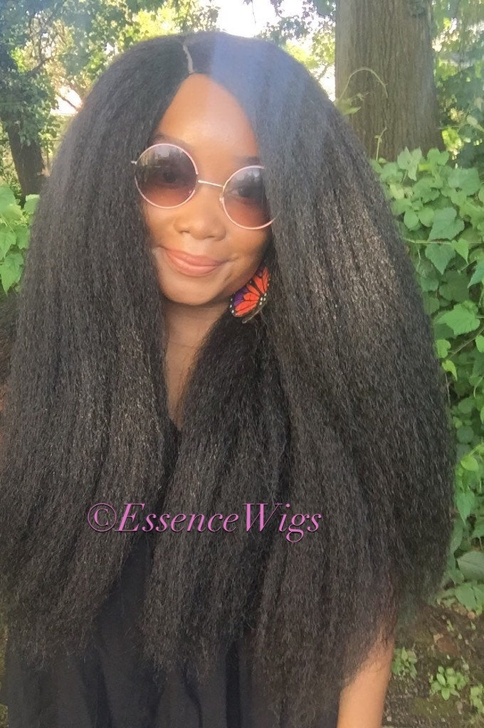 Essence Wigs Gorgeous 'LIONESS' Wig Full Cap Crochet Wig Braid Unit Textured Premium Fibers 4b 4c Kinky Straight Wig Hair