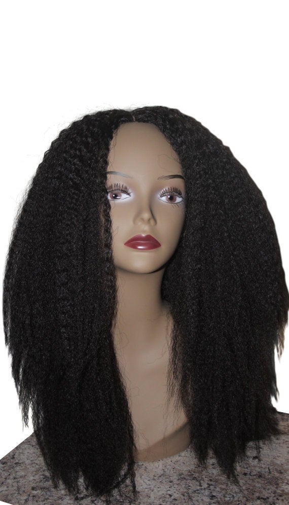 Essence Wigs Kinky Straight Wig Thick Textured Full Cap Blow out Dark Brown Black Unit 4b 4c 4a Crochet