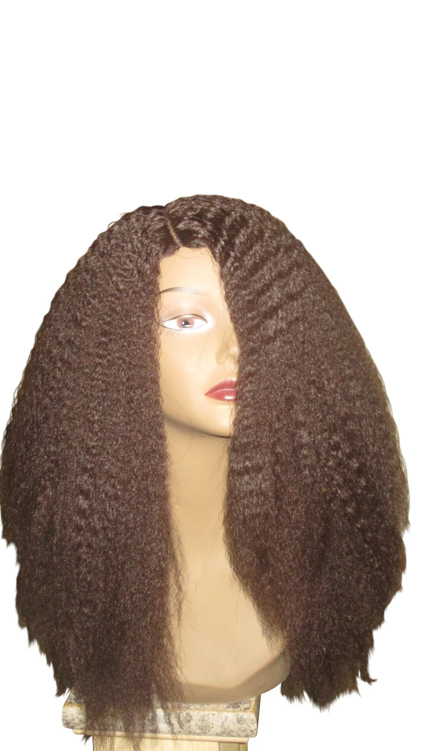 Essence Wigs Kinky Straight Wig Blow Out Medium Brown Wig Natural Hair Unit