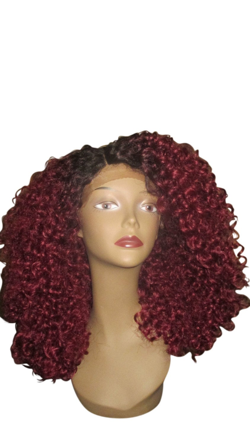 Essence Wigs Bold Burgundy Red The 'Diana Ross' Lace front Wig Hair Full Cap Lace Wig Unit Curly Special parting 3b 3c