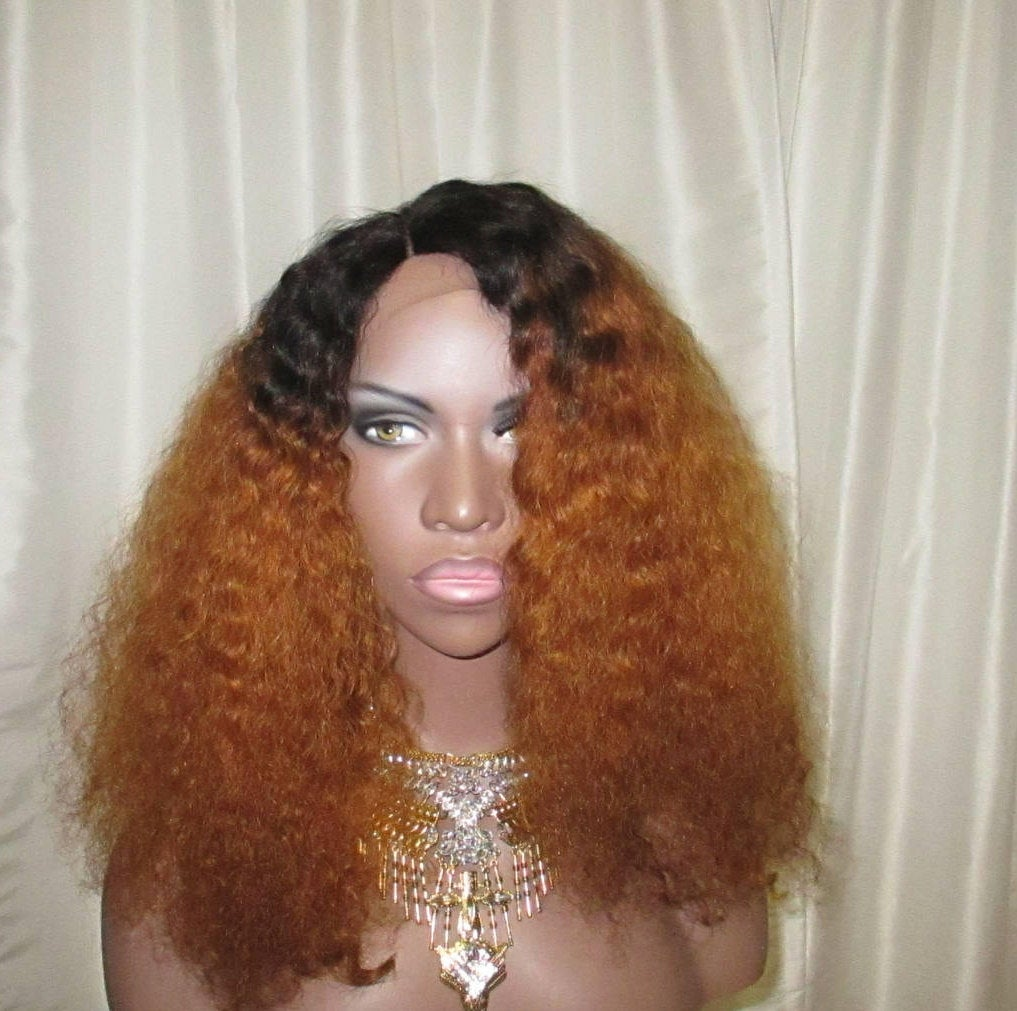 Essence Wigs 'The Raven' Ombre Two Tone Black & Blonde Lace front Wig 100% Brazilian Remy Human Hair Natural Hair Wig