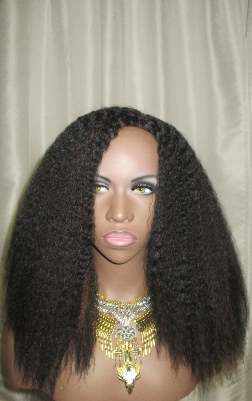 Essence Wigs Crimped Kinky Straight Textured Wig Natural Hair Lace Wig Dark Brown w/ Highlights Unit 4b 4c 4a Lacefront Wig
