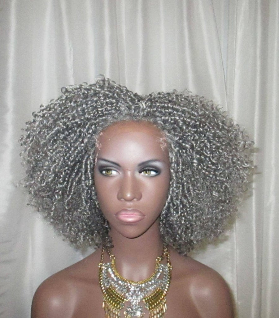 Gray Essence Wigs Kinky Curly Lace front Wig with Parting