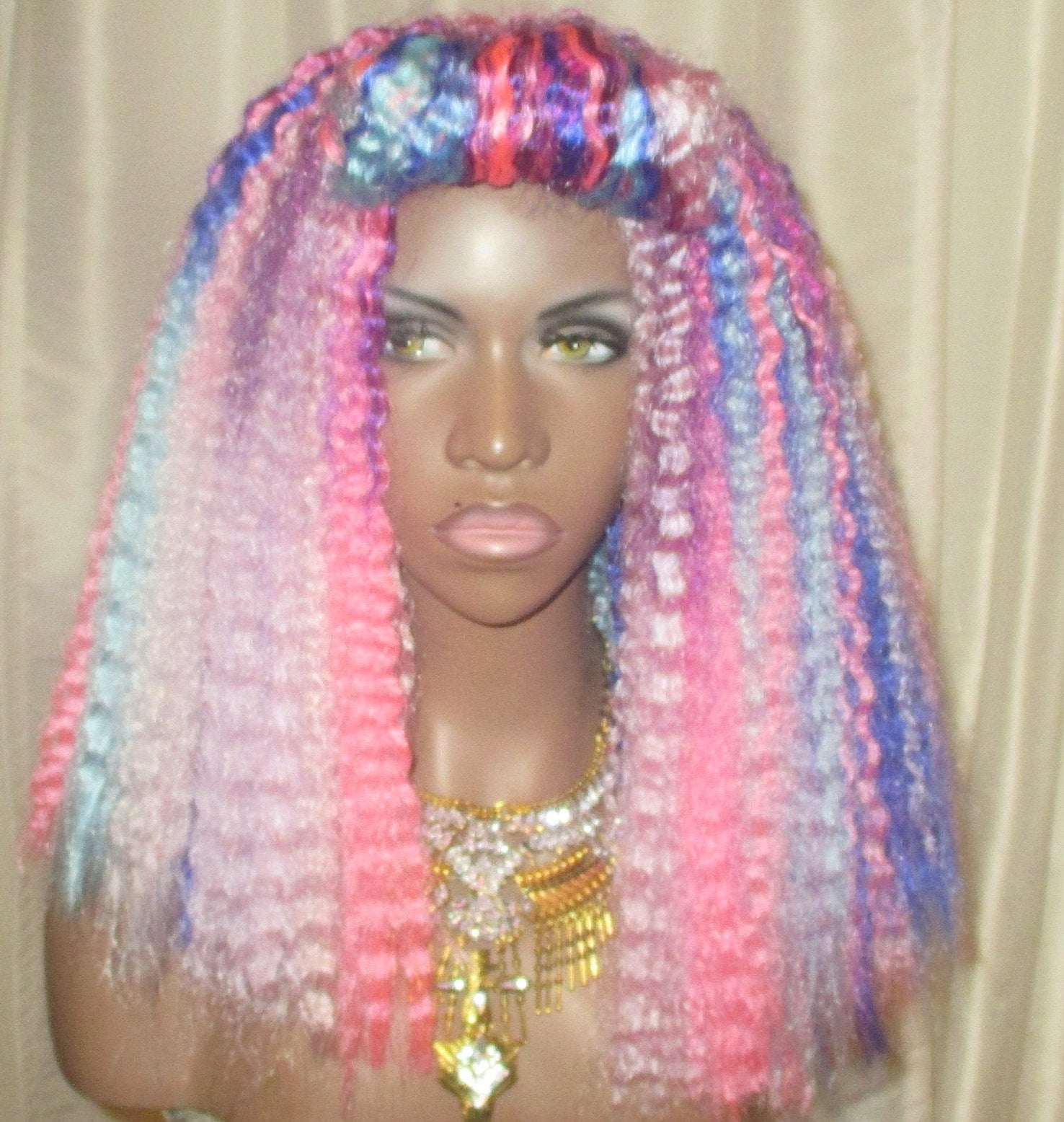 Unicorn Kinks Wig Multi Color Textured Unit Kinky Crimped Natural Hair by Essence Wigs