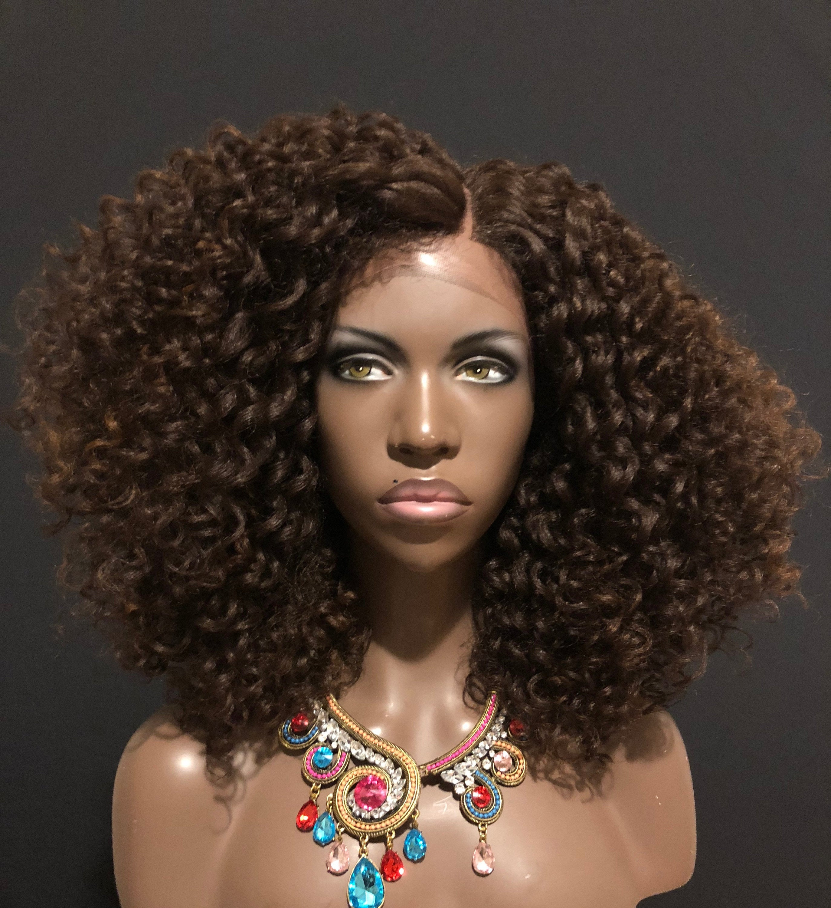 Essence Wigs Brown Bombshell Curly Kink Natural Hair Lacefront Wig Brown Afro kinky Curly Lace Wig Unit 4b 4c 4a
