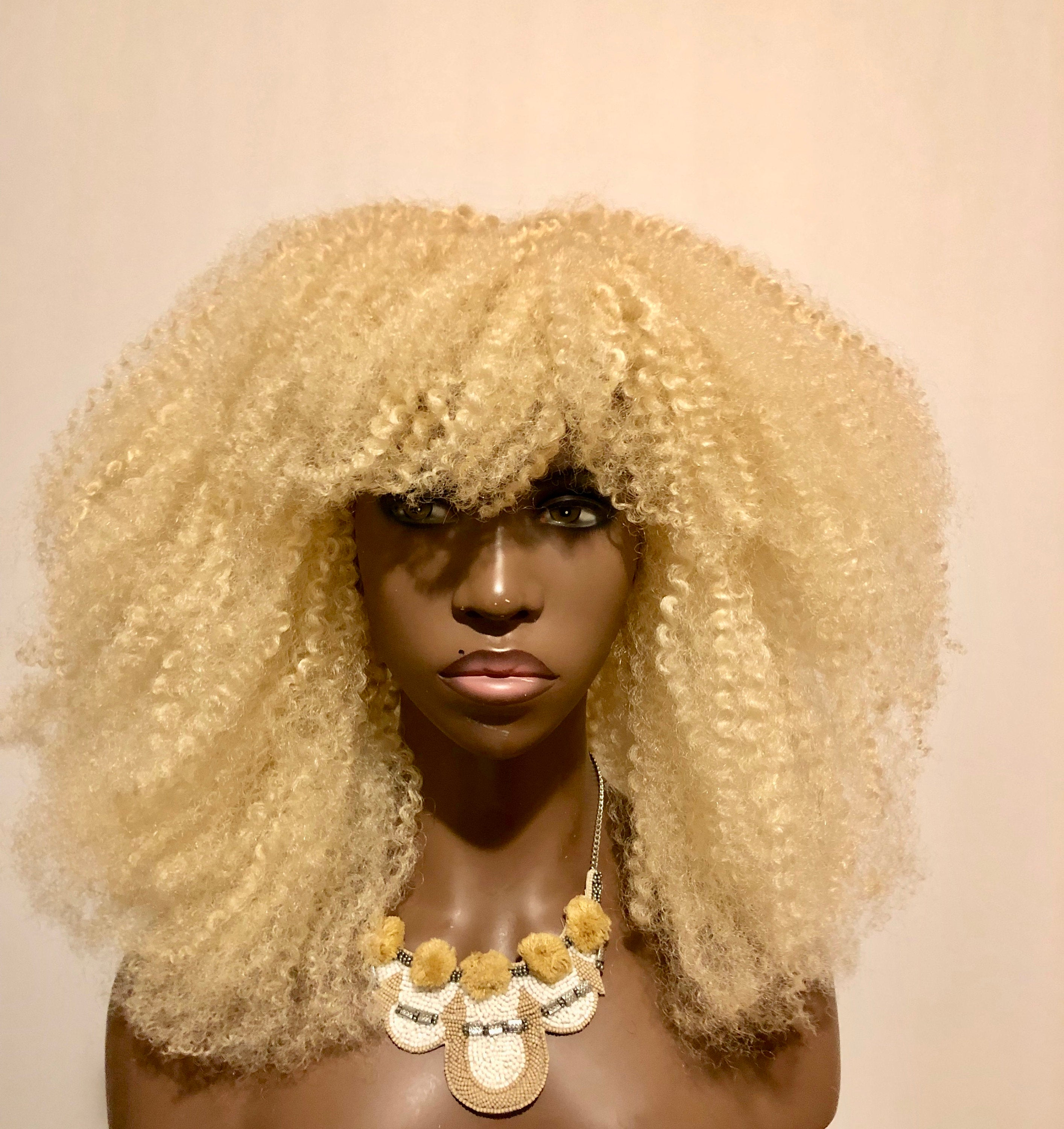 Exclusive Platinum Blonde Textured Afro Wig