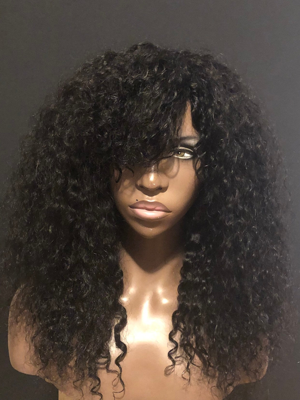 Essence Wigs 100% Human Hair Black Swoop Bangs Wig Natural Hair Curly Wig Unit