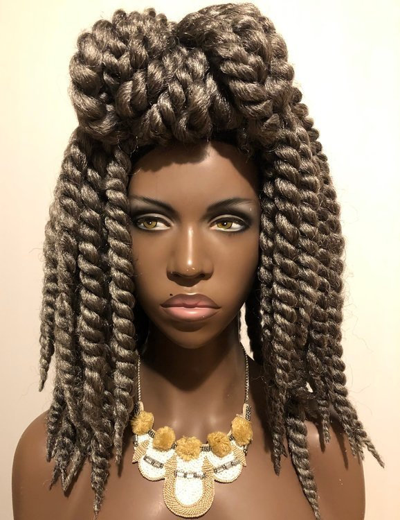 Essence Wigs Gray Afro Twist Crochet Wig Unit