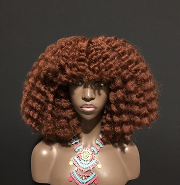 Essence Wigs Copper Ginger Braid Out Bangs Wig by Essence WIgs