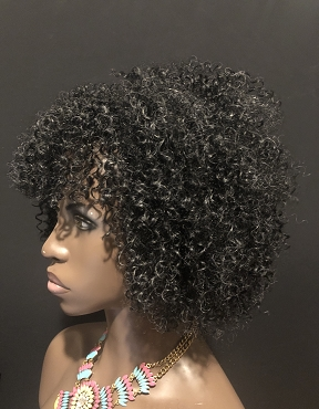 Charcoal Gray Essence Wigs Human Hair Kinky Curly Wig Non Lace Available in other colors