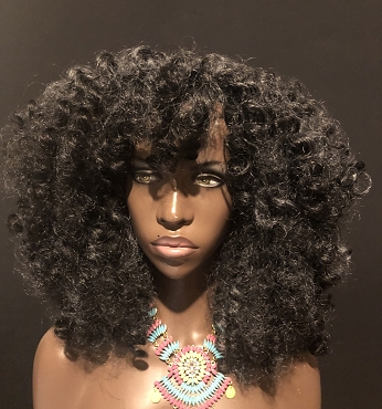 Charcoal Gray 'Curly Bantu' Natural Hair Wig