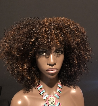 Essence Wigs 'VA VA' Curly Afro Drk Brown Highlights Wig Unit