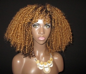 NEW Honey Blonde Kinky Curly Wig Unit with Bangs