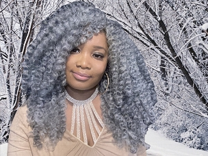 Essence Wigs Salt Pepper Gray Wig Tossed Kinky Curly Natural Hair Wig Non Lace