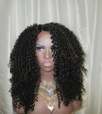 Essence Wigs The 'JANET JACKSON' BLACK Highlights Lacefront wig Natural Hair Lace Wig Kinky Straw Curl