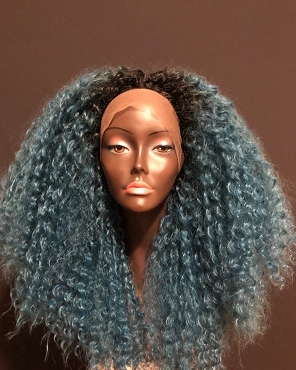 Essence Wigs Deep Blue Fantasy Kinky Curly Lace Front Wig