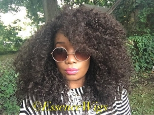 Essence Wigs 'Lotta Body' Natural BIG Hair Kinky Curly Wig Brown Premium Sustainable Hair Unit Wig 3b 3a