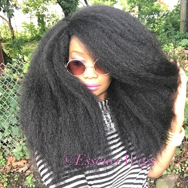 Essence Wigs 'EMPRESS' Thick Kinky Straight Full Cap Crochet Braid  Wig Unit 4A Black Wig BIG Hair