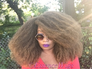 Essence Wigs 'Nubian Queen' Full Cap Afro Wig Brown Blonde Ombre Crochet Braid Wig BIG AFRO Hair Type 4