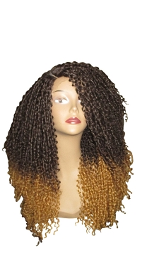 Essence Wigs Ombre Blonde Kinky Straw Curled Lace front Wig Natural Hair Lace Wig