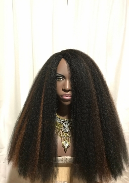 Essence Wigs 'EMPRESS' Thick Kinky Straight Full Cap Crochet Braid  Wig Unit 4A Black Brown Highlights Wig BIG Hair Long Natural hair