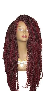 Essence Wigs Kinky Wave 2 Twist Out (Long) Crochet Lacefront Wig Unit Fiery Red Wig Curly Hair
