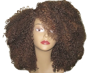 Essence Wigs 'VA VA Voom' Natural Hair Kinky Curly Afro Brown Highlights Wig Unit