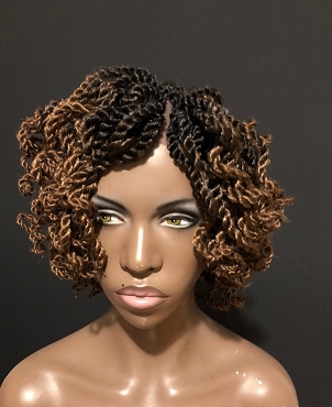 Essence Wigs Curly Short Twists Crochet Wig Black Natural Hair Two Strand Twist Unit