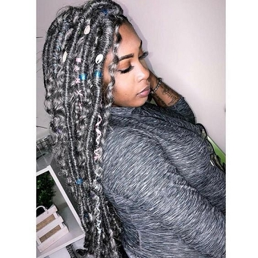 Bohemian Gypsy Gray Boho Locs Wig by Essence Wigs