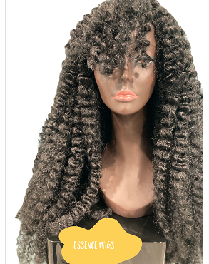 African Water Wave w Bangs Twist Out Crochet Wig Unit Black Wig