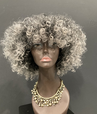 Lovely Ombre White Gray Wig Natural Hair Curly Wig Unit