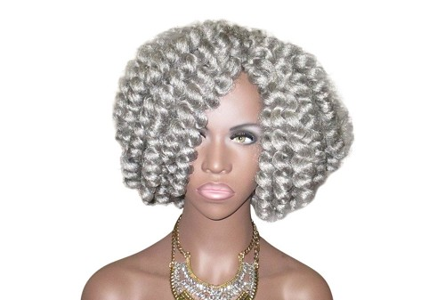 Pretty Gray Kinky Wig 'Miss Maisy' Textured Crochet Natural Hair Twist Out Kinky Curly Wig Unit by Essence Wigs